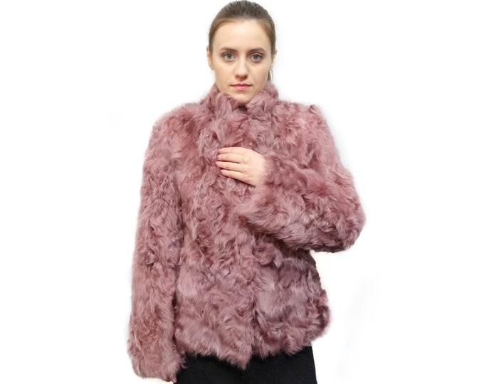 Pink Fur Jacket,Persian Lamb Skin Fur F222