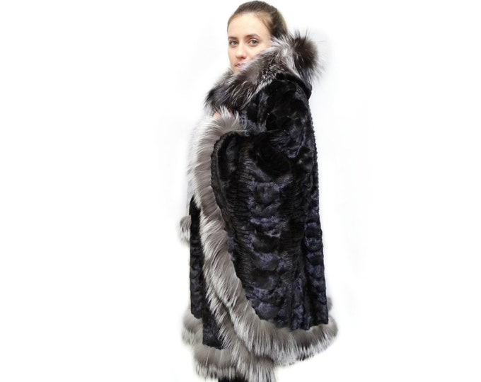 Plus Size Fur Poncho,Fur Cape,Silver Fox Trim F220