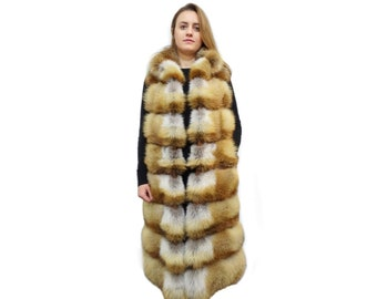 Fashionable Long Red Fox Fur Vest F355