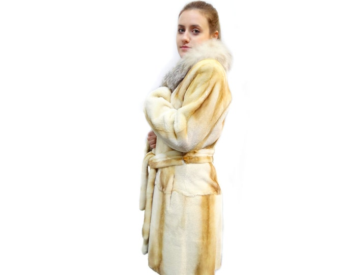 Fur coat,Real Coat Mink Fur Sheared Gold White Fur F156