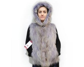 Real Fur Vest,Fur Vest,Mothers day gift,Raccoon Fur Vest,Vest for Leather Jacket,Hooded Fur Vest,Raccoon Pelt Vest,Teenager Fur Vest F456