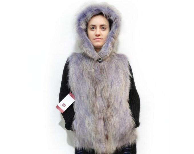 Raccoon Fur Vest,Hooded Fur Vest,Purple Vest F456