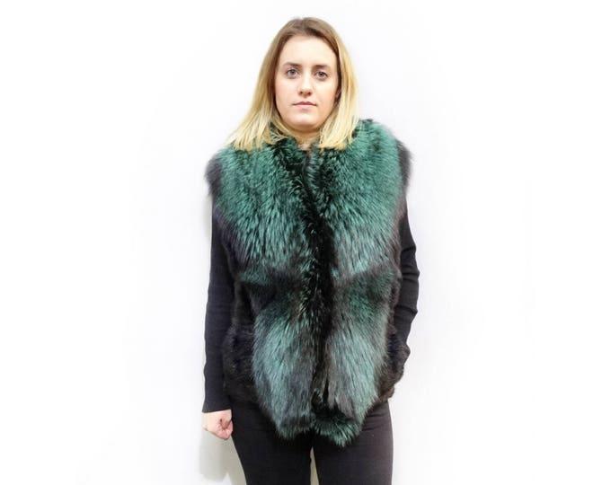 Fox Vest With Mink Back,Green and Black Vest,Fashion Vest F498