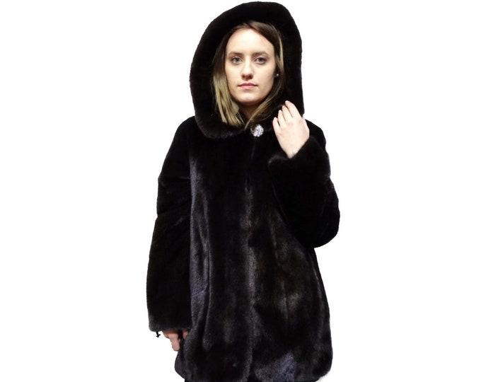 Real Mink Jacket with Hood,Classic Fur Coat