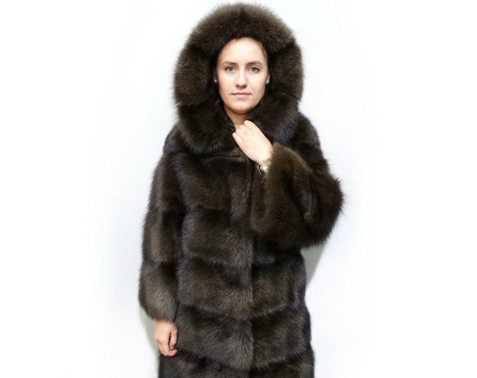 Luxuru Hooded Fur Coat,Real Fisher Fur Coat F378
