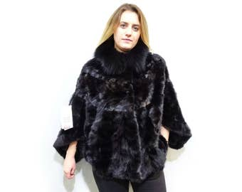 Black Poncho,Fur Cape with Fox Collar F499