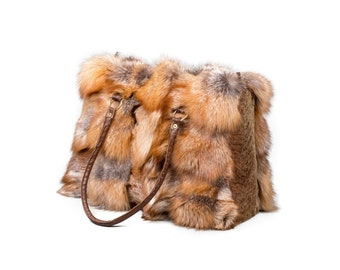 Fox fur tote shoulder handbag F396