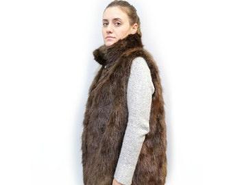 Plus Size Vest,Beaver Fur F485
