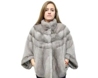 Soft Gray Fur Poncho,Sapphire Bolero