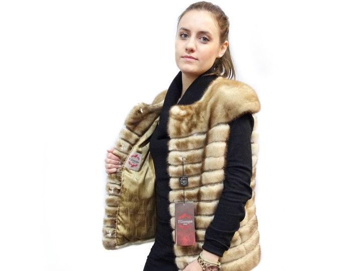 Real gold mink fur vest with leather stripes F395
