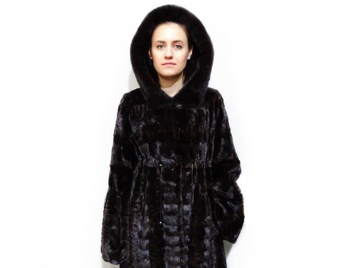 Woman Fur Coat,Real Mink Fur sheared with Hood F380