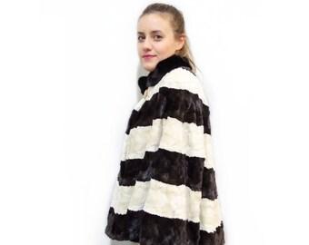 Plus size sheared mink fur cape F441