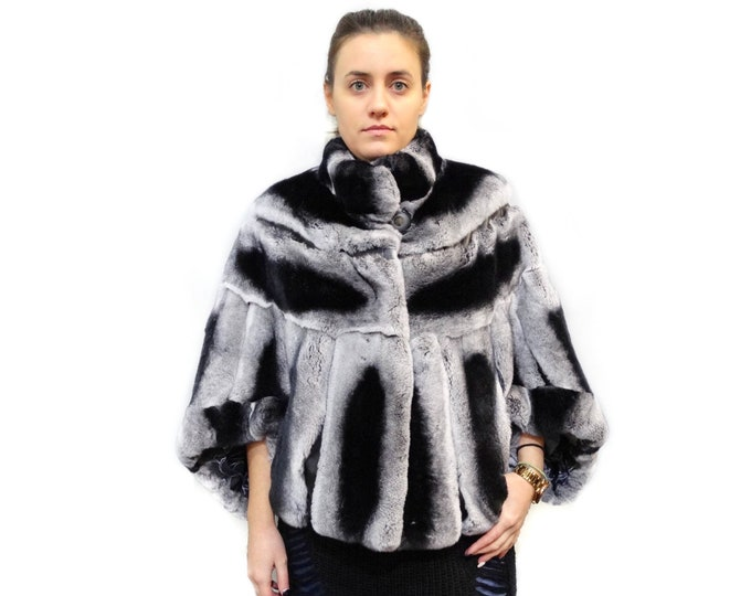 Real Rex Rabbit Fur cape, Bat Sleeve F459