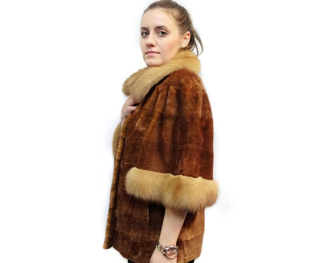 Sheared Fur Jacket, Marten Fur Brown Jacket F398