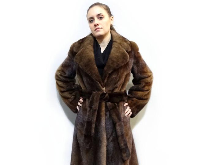 Real Mink Fur Coat,Belted Fur Coat,Handmade Fur Coat F362