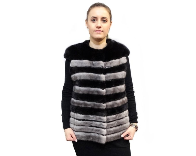 Black - gray mink fur sleeveless vest with leather stripes F391