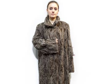 Real Karakul Fur Coat,Plus Size Swakara,Persian Lamb Coat F278