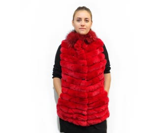 Real Rex Rabbit and Fox fur Vest F353