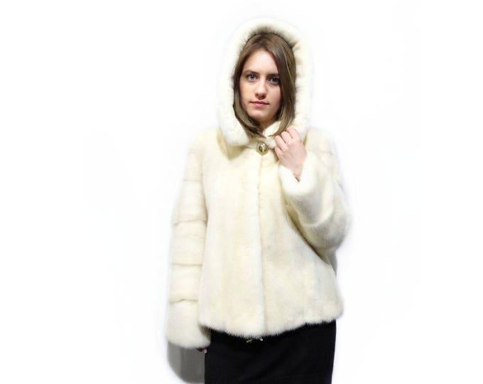 Winter Hooded Fur Coat,White Fur Coat,Coat with Hood F266