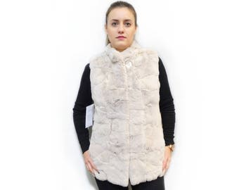 Soft pastel rex rabbit fur vest F437