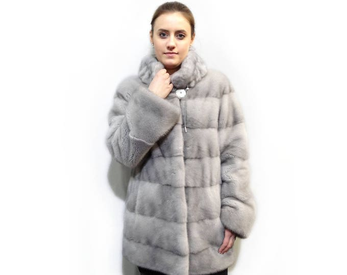 Gray Fur Coat,Real Fur Coat,Perfect Grey Fur F279