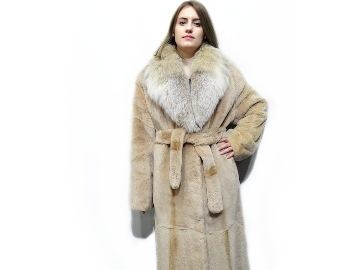 Big Fox Fur Collar,Super Long Beaver Fur Coat F263