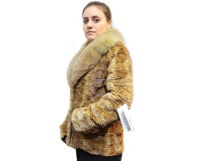 Jacket with Big Fox Collar,Real Fur Jacket, F144
