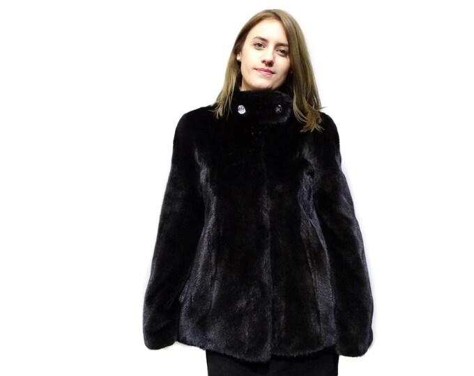 Real fur mink jacket black  F271