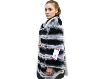 Soft rex rabbit fur coat with leather stripes F114