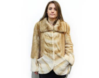 Gold Fur Jacket,Sheared Mink Fur Jacket,Special Mom's Gift F351