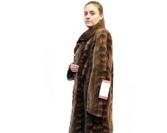 Real Mink Fur Coat,Sheared Pieces Coat,Full Skin Collar F134