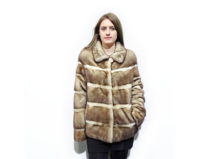 Real Fur Jacket,Sheared Goldwhite Fur Jacket F258