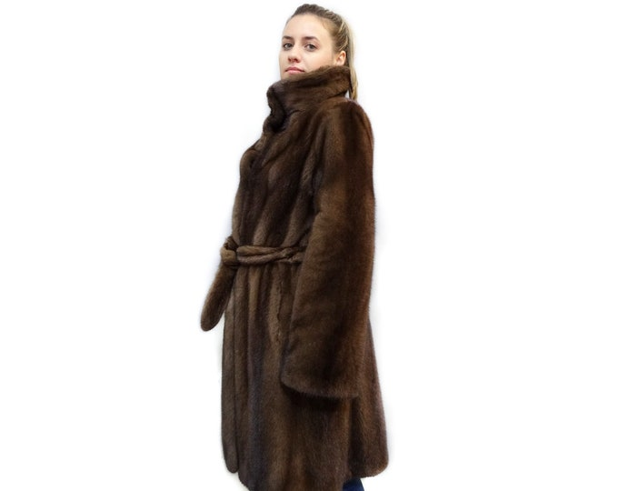 Brown Mink Fur Coat with Belt,Clothes for Cold