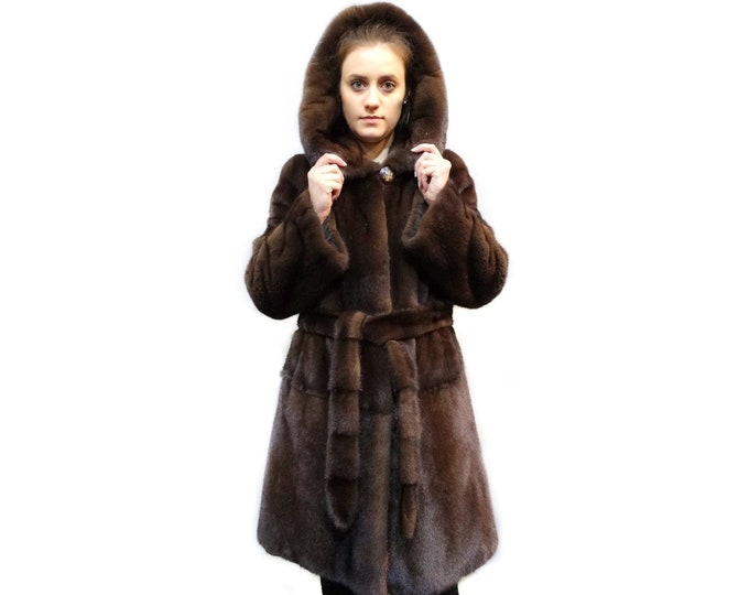 Real Mink Fur Coat with Hood,Special Gift for Her