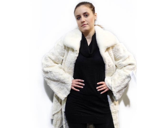Mink Sheared Pieces Coat,Big Sizes Fur Coat F331