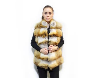 Canadian Fox Vest,Golden Fox Fur Vest F296