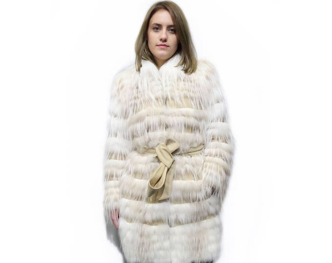 Feathered Fabric Coat,Fox Fur Coat,Fall Fur Coat F275