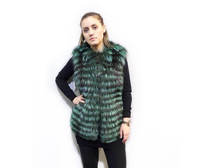 Green Fox Vest,Teen's Fashion Fur Vest F297