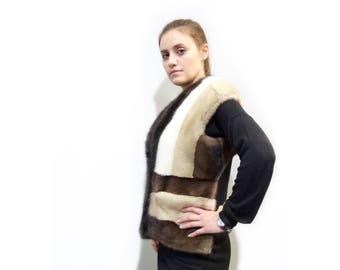 Real Fur Mink Vest,Special Fur Vest,Colorful Vest, Sable Vest F284