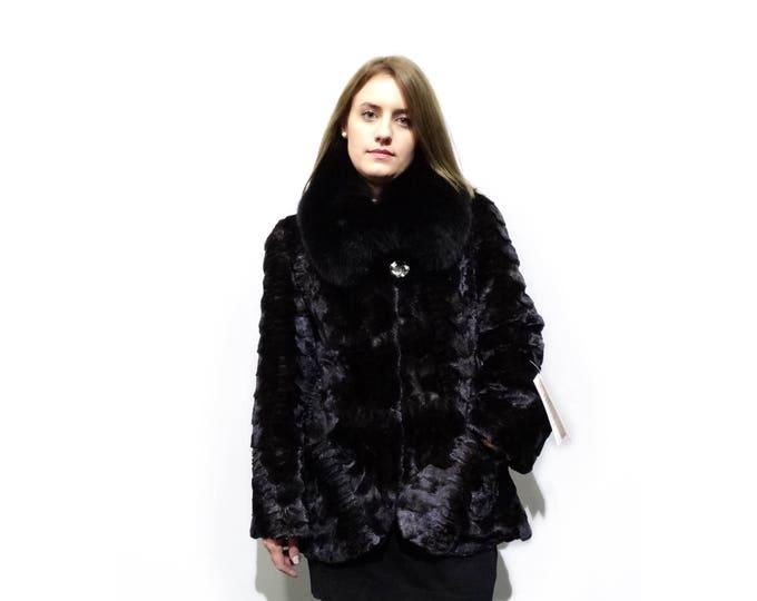 Mink Coat with Fox Collar,Sheared Mink Coat F277