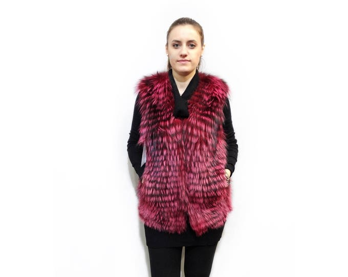 Red Fox Fur Vest, Perfect for Valentine's day gift F385