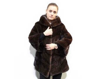 Warm Fur Coat,Real Fur Mink Jacket with Hood F347