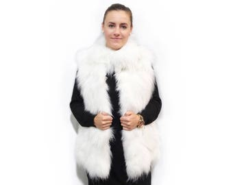 White Fur Vest,Real Fox Fur Vest F329