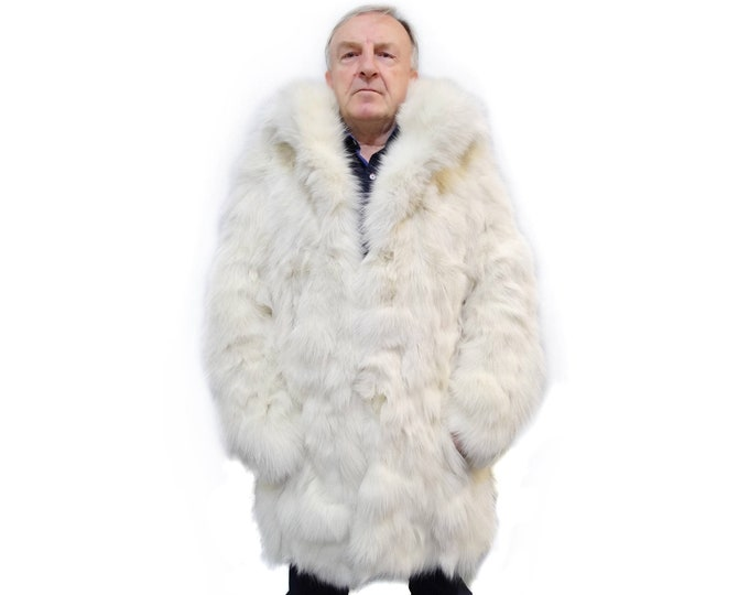 Fashionable fox fur jacket for men