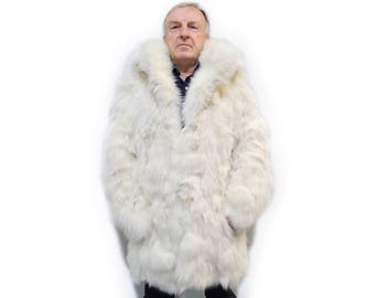 Fashionable fox fur jacket for men F505