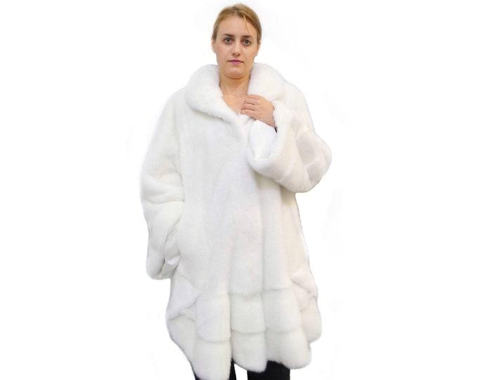 Big size fur coat,White mink coat,Swing fur coat F578