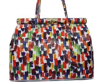 Genuine Leather Bag, Colorful Leather Bag With Gold Details F1047