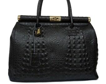 Genuine Leather Bag, Black Leather Bag With Gold Details
