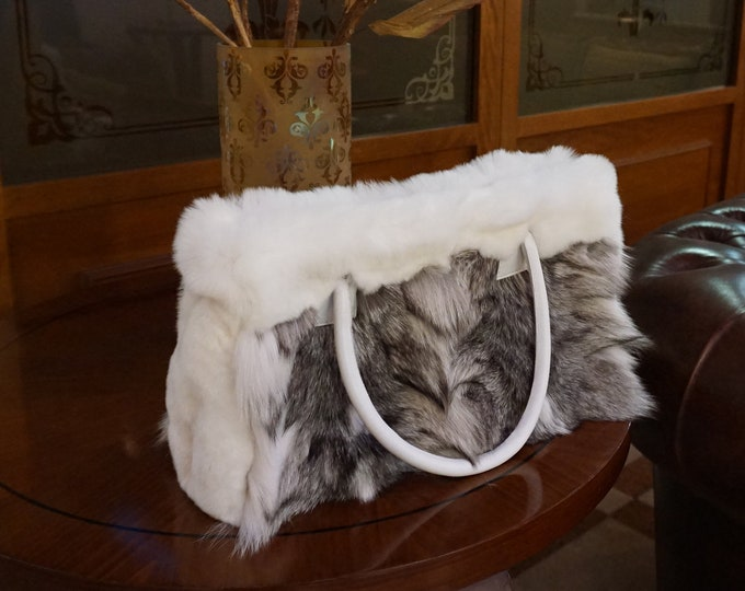 Fox fur tote shoulder handbag F856