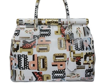 Genuine Leather Bag, Colorful Leather Bag With Gold Details F1048